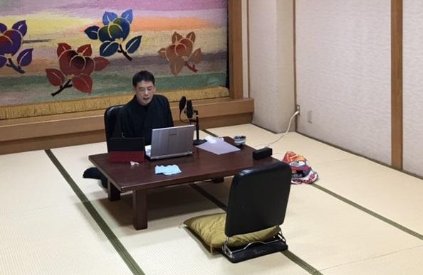 上田さんがオンライン講演している様子